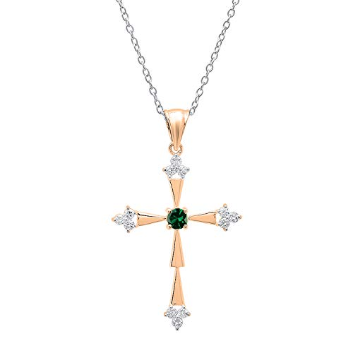 Dazzlingrock Collection 18K Round Lab Created Emerald & Diamond Cross Pendant (Silver Chain Included), Rose Gold