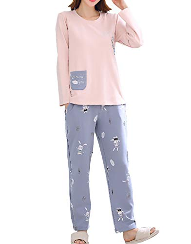 Vopmocld Big Girls Cartoon Rabbits Pajamas Long Sleep Cotton Loungewear 2 Piece PJS Sets