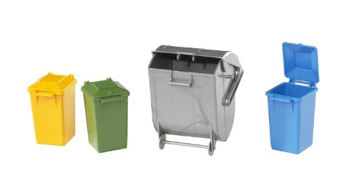 Bruder Garbage Can Set - 3 Small & 1 Large
