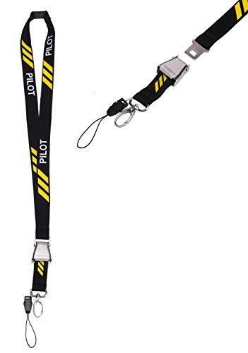 NOVAH Pilot Lanyard 3 Yellow Stripes (The Brand With The Three Stripes Lanyard)