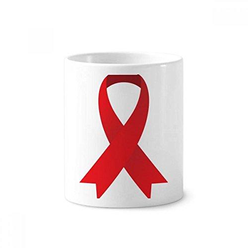 Red Ribbon HIV Awareness World AIDS Day Toothbrush Pen Holder Mug White Ceramic Cup 12oz -