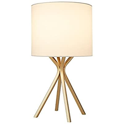 "Rivet Gold Table Lamp, 18""H, with Bulb, with Drum Linen Shade - A brilliant satin gold finish gives this metal table lamp an modern look.   Sharp lines form four posts for a sturdy design. An oversized linen drum shade gives a classic touch, for a combination that easily blends with your existing style. modern style Four straight metal legs with a brushed gold finish and linen shade - lamps, bedroom-decor, bedroom - 31sK8LfsxRL. SS400  -"