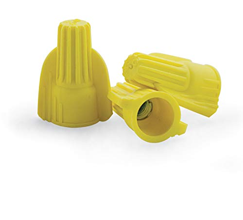 100 PCS Yellow Winged Wire Connectors, Easy Twist-On Ribbed Cap - UL Listed and CSA Certified