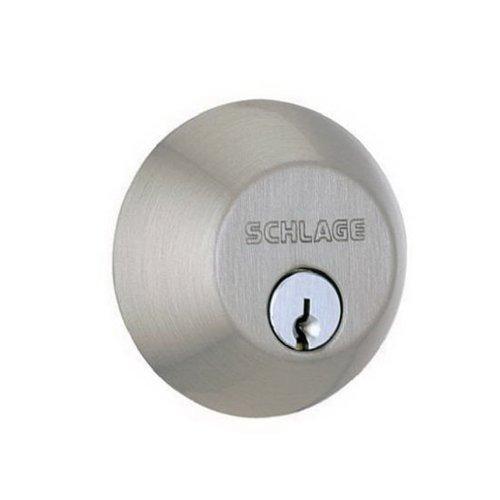 SCHLAGE LOCK CO B60NV620 Single Cylinder Deadbolt, Pewter