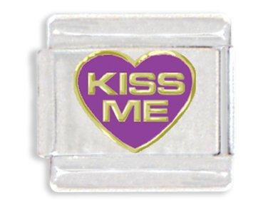 Kiss Me in Heart Italian Charm Bracelet Link - Heart Kiss Italian Charm