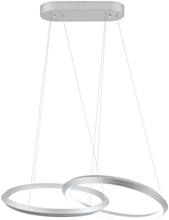 Royal Pearl Modern Chandelier LED 2 Rings Adjustable Pendant Light Contemporary 46W 2300LM Cool White 6000k Pendant Chandelier