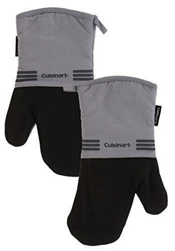 Cuisinart Neoprene Oven Mitts, 2 Pack - Heat Resistant Oven Gloves to Protect Hands and Surfaces with Non-Slip Grip and Hanging Loop - Ideal Set for Handling Hot Cookware, Bakeware Items - Grey
