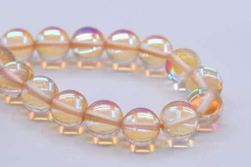 Quartz Bead Drusy Pendant - 8mm Orange Mystic Aura Quartz Grade Round Gemstone Loose Beads 7.5'' Crafting Key Chain Bracelet Necklace Jewelry Accessories Pendants