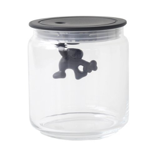 Alessi A Di Glass Gianni Jar A Little Man Holding On Tight Small Kitchen Box with Hermetic Lid in Thermoplastic Resin, Black ()