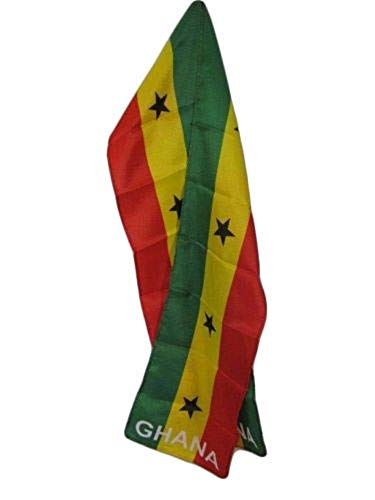 Wholesale set of 2 Ghana Country Lightweight Flag Printed Knitted Style Scarf ()