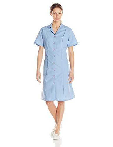 Diner Waitress Costume (Red Kap Women's Short Sleeve Work Dress, Light Blue,)