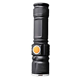 Super Bright Rechargeable Q5 T6 LED Tactical USB Flashlight Torch Zoom Adjustable Portable Lighting for Bike Hiding…