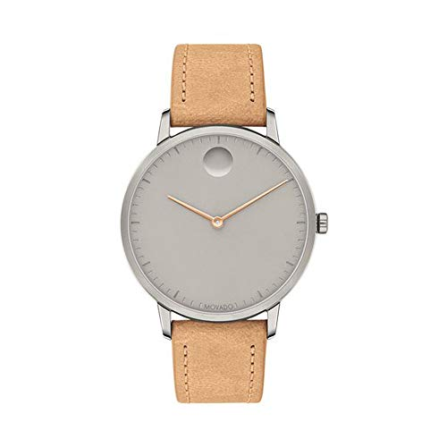 Movado FACE Grey Ion-Plated Stainless Steel Case, Grey Dial, Tan Leather Strap, Women, 3640013