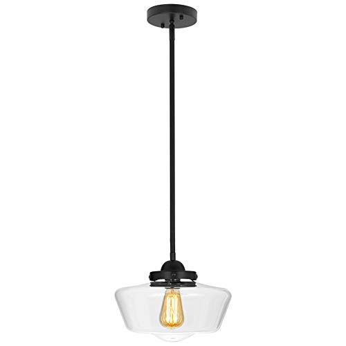 (T&A Tomato Schoolhouse Pendant Light, Clear Glass Shade with Matte Black Fittings Modern Ceiling)
