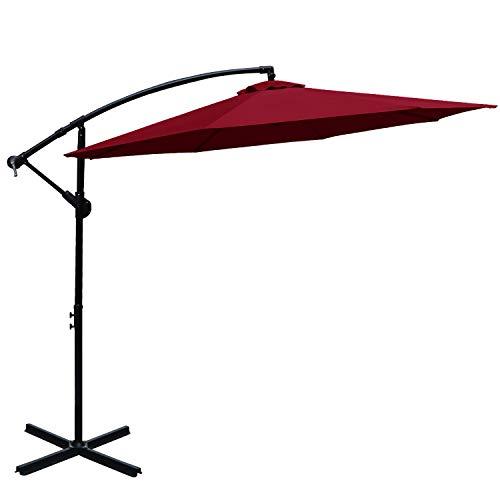 ABCCANOPY Patio Umbrellas Cantilever Umbrella Offset Hanging Umbrellas 10 FT Outdoor Market Umbrella with Crank & Cross Base for Garden, Deck, Backyard, Pool and Beach, 12+ Colors, (Burgundy)
