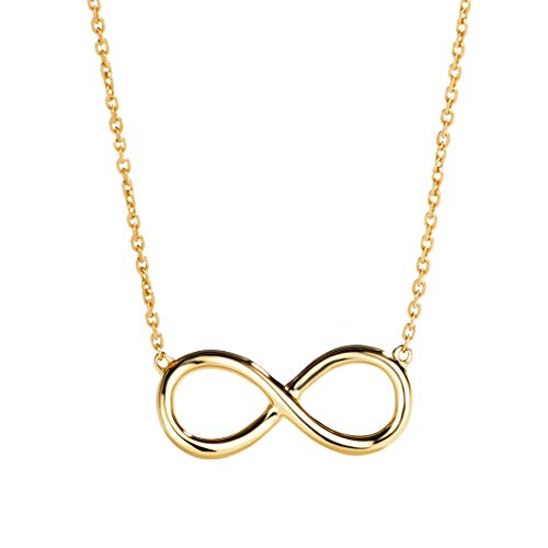 14k Tiffany Necklace Style - Carleen 14K Solid Yellow Gold Infinity Necklace for Women Girls with 16+2'' Gold Chain