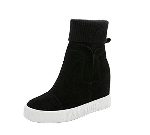 [RSWHYY] レディース ブーツ インヒール 韓国スタイル 厚手 保温 カジュアル 毛糸 厚底靴 ミドルブーツ