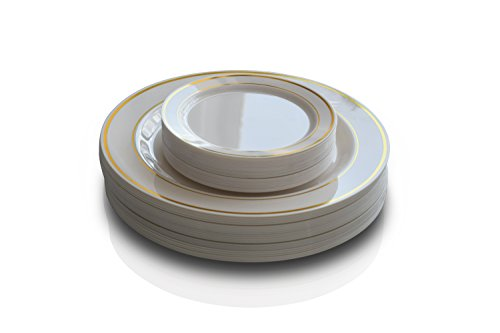 """OCCASIONS"" 50 Pack, Premium Disposable Plastic plates ( 25 x 10.5'' Dinner + 25 x 6'' Cake plates) Ivory/Gold Rim"