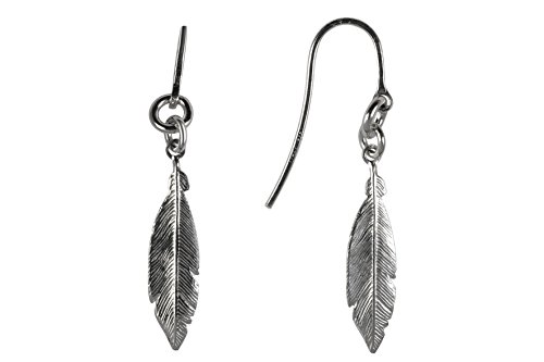 GiftsFromTheHeart 925 Sterling Silver Women's Feather Earrings Size Large ()