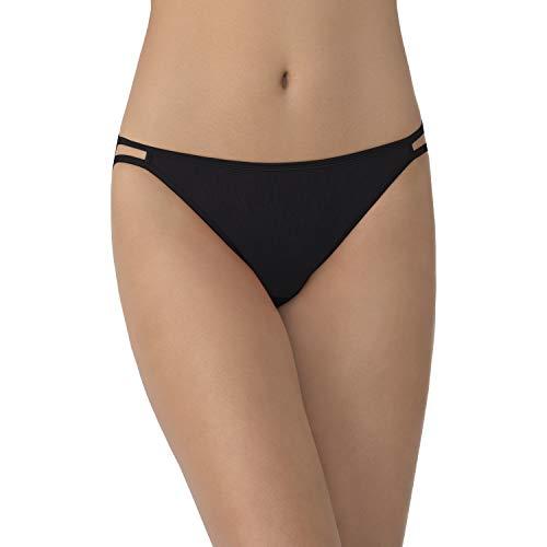 Vanity Fair Women's Illumination String Bikini Panty 18108, Midnight Black, Medium/6
