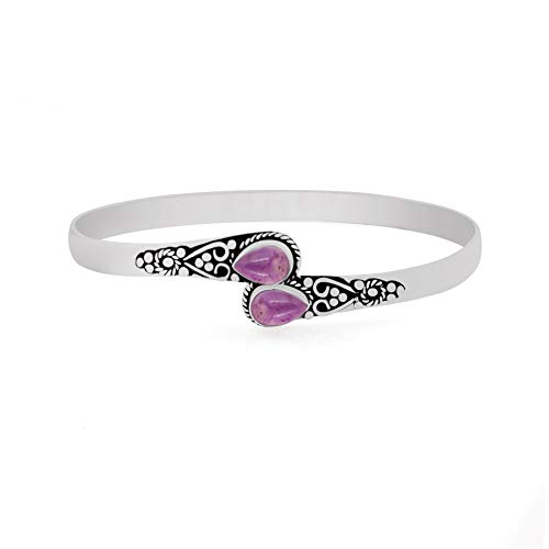 (Genuine Pear Shape Amethyst Silver Plated Handmade Fashion Cuff Bangle Jewelry)