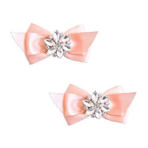 ElegantPark CQ Women Bow Shoe Clips Rhinestones Decorative Jewelry Wedding Party Accessories Decoration Pink 2 Pcs