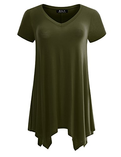 Price comparison product image B.I.L.Y BILY Women's Short Sleeve V-Neck Sharkbite Tunic Top With Side Pockets Olive Large