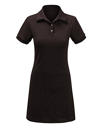 Come Together California WDR1379 Womens Short Sleeve Polo Dress - Made in USA M Brown