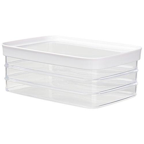 Emsa 513561 Stapelbares Aufschnittbox-System, 100 % Keimfrei, 3x0.7 Liter, Weiß/Transparent, Optima