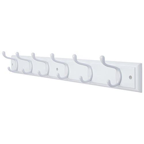 - DOKEHOM DKH0116WWM2 6-White Hooks -(4 Colors, Available 4 and 6 Hooks)- on White Wooden Board Coat Rack Hanger, Mail Box Packing