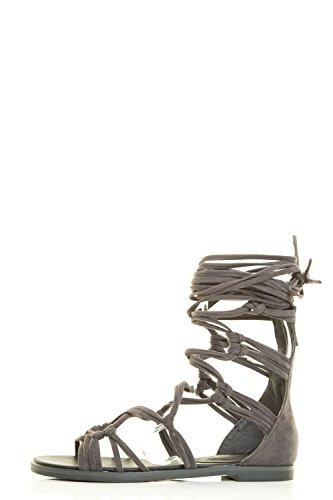 Breckelles Donna Open Toe Strappy Annodato Allacciatura Posteriore Con Cerniera Gladiatore Piatta Sandalo Grigio