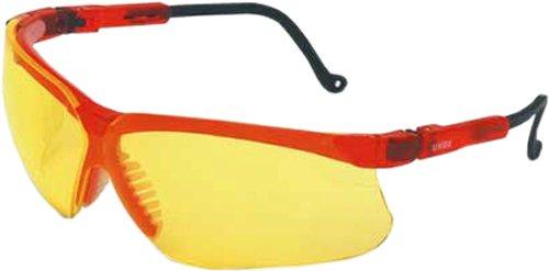Amber Uvex Genesis Lens (Uvex S3602 Genesis Safety Eyewear, Mercury Red Frame, Amber Ultra-Dura Hardcoat Lens)
