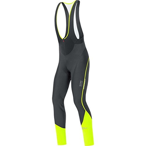 Gore Bike WEAR, Men´s, Padded Long Cycling bibtights with Suspenders, Thermo, Gore Windstopper Soft Shell, Oxygen WS SO +, Size M, Black/Neon Yellow, WWOXMP