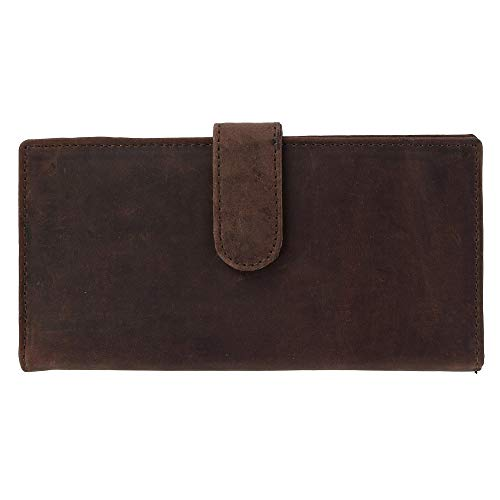 CTM Vintage Leather RFID Checkbook Cover with Snap Closure, Brown (Snap With Checkbook Cover)