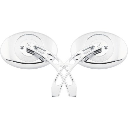 Biker's Choice Oval Mirror With Slotted Stem (CHROME)