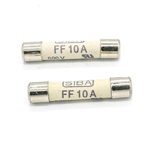 Fuse FF10A 600V Fast Acting Ceramic Fuse 6.3 x 32mm 2 Pack (10a Electronic Fuse)