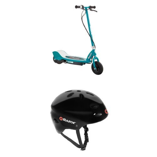 Razor E200 Electric Scooter - Teal and Razor V-17 Youth Multi-Sport Helmet