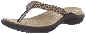 crocs Women's 14387 Capri Leopard Flip Flop from crocs