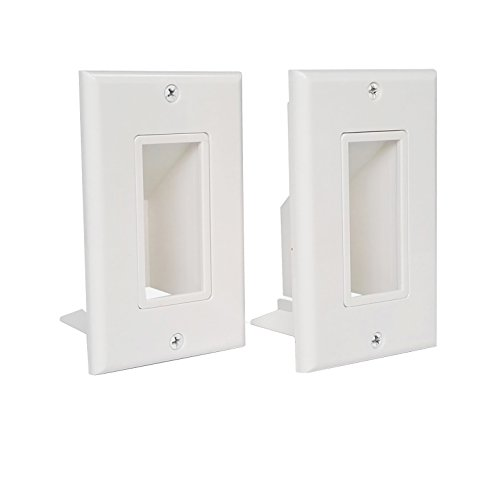 Thru Wall Plate 2 Gang (YOEMELY Single Gang Recessed Low Voltage Wall Plate , Bottom Opening, 1-Gang with Fly Mounting Wings Easy Cable Pass Low Voltage Cables ( White, 2-Pack ))