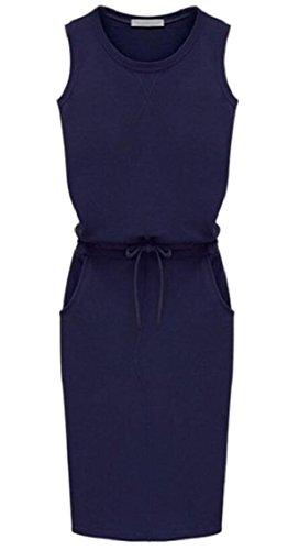 Drawstring Waist Crewneck 2 Sleeveless Dress Womens Jaycargogo 4wt1IAq