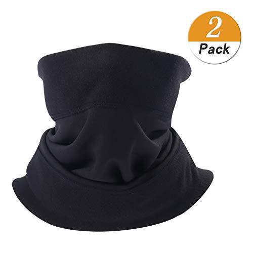 LongLong Neck Warmer Gaiter- Winter Thicken Soft Elastic Fleece Skiing Face Scarf Mask (No Drawstring Thicken Black 2 Pack)