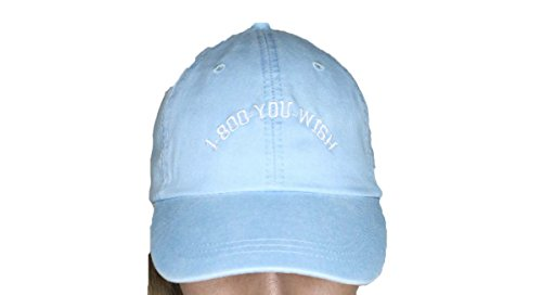 1-800-YouWish light blue baseball cap with white embroidery on the front
