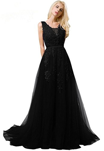 Sexy Women's A-line Evening Gala Dress Long Lace Applique Prom Gown Black (Lined Satin Little Black Dress)