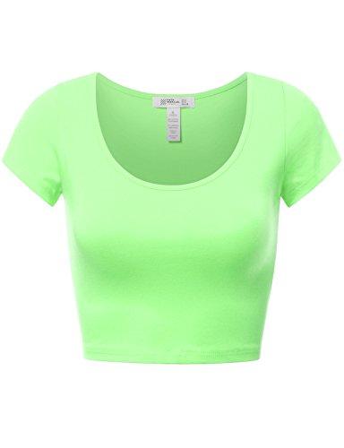 Basic Short Sleeve Crop Top NEONLIME L Apparel