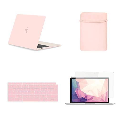 TOP CASE MacBook Air 13 Inch Case A1932/A2179 with Retina Display fits Touch ID 2020 2019 2018 Release, 4 in 1 Bundle Rubberized Hard Case, Keyboard Cover, Sleeve, Screen Protector - Rose Quartz