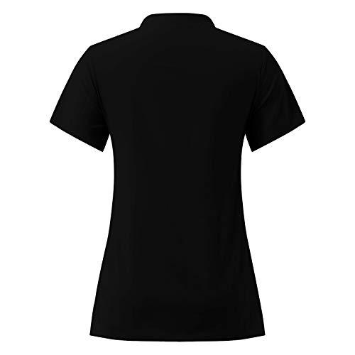 QiFei Uniseks kasack met twee zakken, uniformen, dames, verzorging, eenkleurig, blouse, T-shirt, slipzak met zakken…