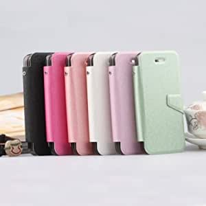 Luxury Silk Print PU Leather Stand Case With Card Holder For iPhone 5C --- Color:Pink