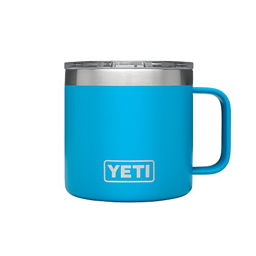 YETI Rambler 14 oz Stainless precious metal hoover Insulated Mug along with Lid, Tahoe Blue