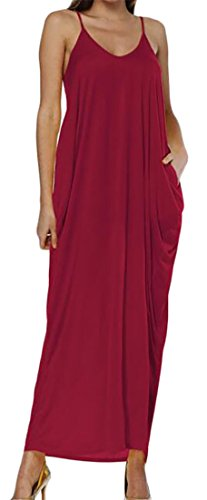 V Strap Womens Cruiize Dress Solid Wine Pockets Neck Long Color Fit Red Pleated Loose 0qqdTxE