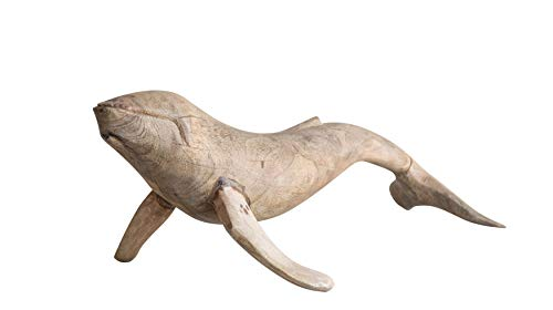 Creative Co-Op Hand-Carved Whale Figurine in Mango Wood